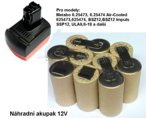 Baterie pro Metabo BS 12 SP 12V 2000 mAh články Panasonic KIT