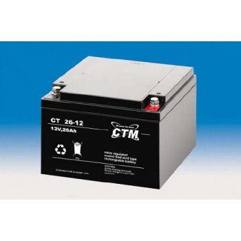 Olověný akumulátor CTM 12V 26Ah závit M5 CTM Components GmbH, Německo