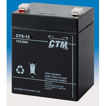 Olověný akumulátor CTM 12V 5Ah faston F1-4,7mm CTM Components GmbH, Německo