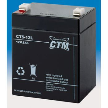 Olověný akumulátor CTM 12V 5Ah faston F2-6,3mm CTM Components GmbH, Německo