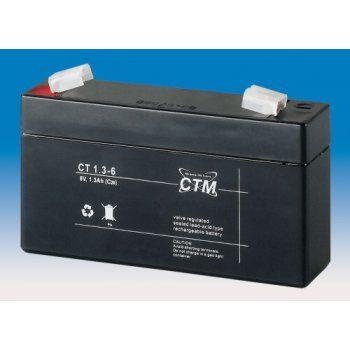 Olověný akumulátor CTM 6V 1,3Ah faston F1-4,7mm CTM Components GmbH, Německo