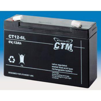 Olověný akumulátor CTM 6V 12Ah faston F2-6,3mm CTM Components GmbH, Německo