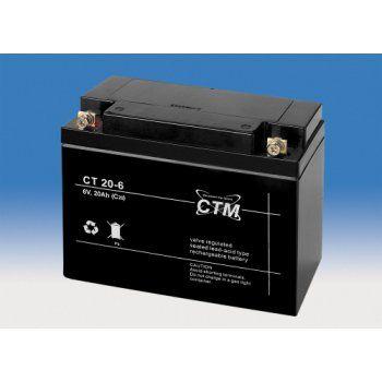 Olověný akumulátor CTM 6V 20Ah oko na M5 CTM Components GmbH, Německo