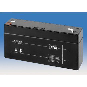 Olověný akumulátor CTM 6V 3,4Ah faston F1-4,7mm CTM Components GmbH, Německo