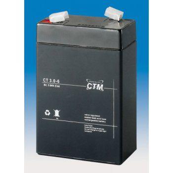 Olověný akumulátor CTM 6V 3Ah faston F1-4,7mm CTM Components GmbH, Německo