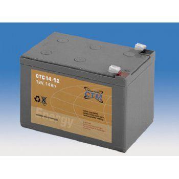 Olověný akumulátor CTM 12V 14Ah faston F2-6,3mm cyklický CTM Components GmbH, Německo