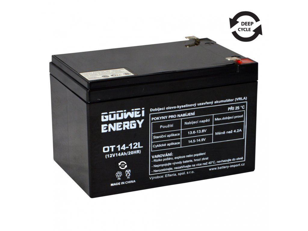 Trakční (AGM) baterie GOOWEI OTL14-12, 14Ah, 12V