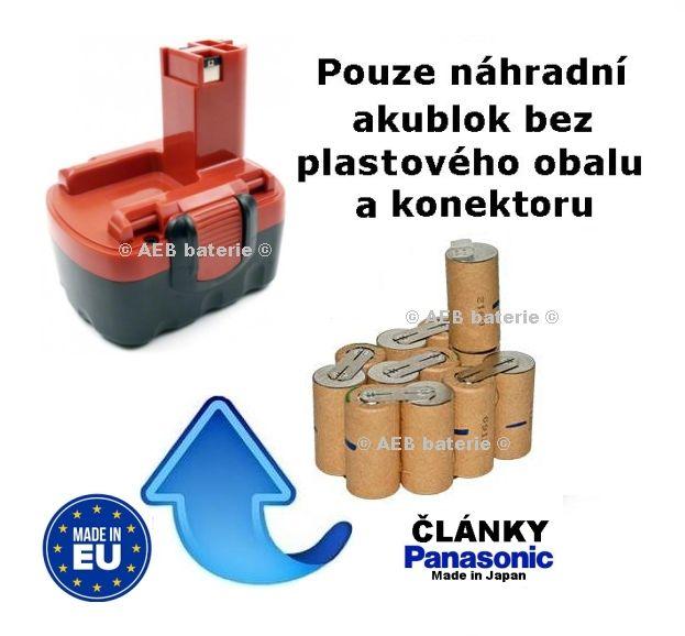 Baterie Bosch 14,4V 2,5 Ah Panasonic - originál články - akublok AEB