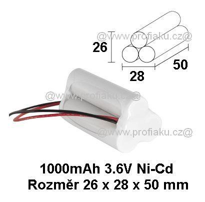 Baterie pro nouzová světla Ni-Cd 3,6V 1000mAh 3x1S AEB