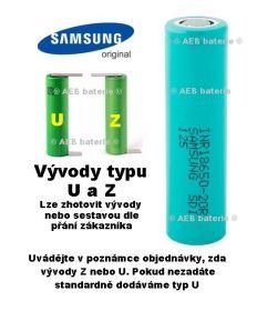 Baterie Samsung 3,6V 2000mAh INR 18650-20R - vývody