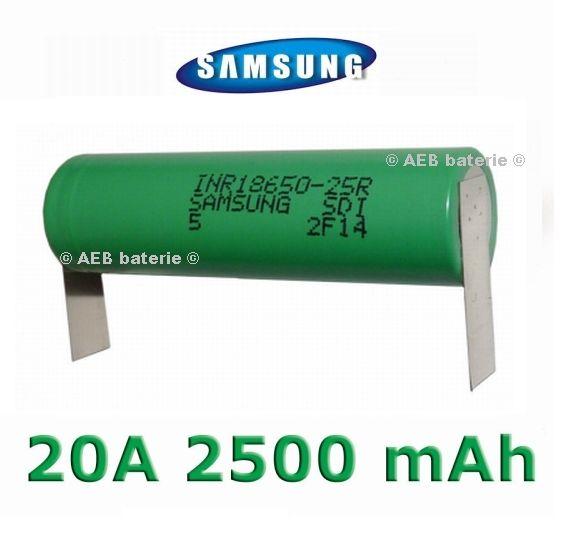 Baterie Samsung INR 18650-25R Li-Ion 2500mAh 20A - vývody U