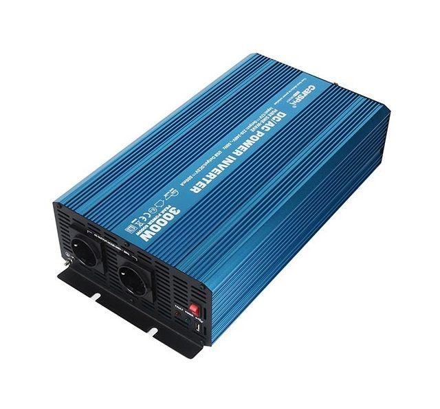 Měnič napětí Carspa P3000U-12 12V/230V+USB 3000W, čistá sinusovka