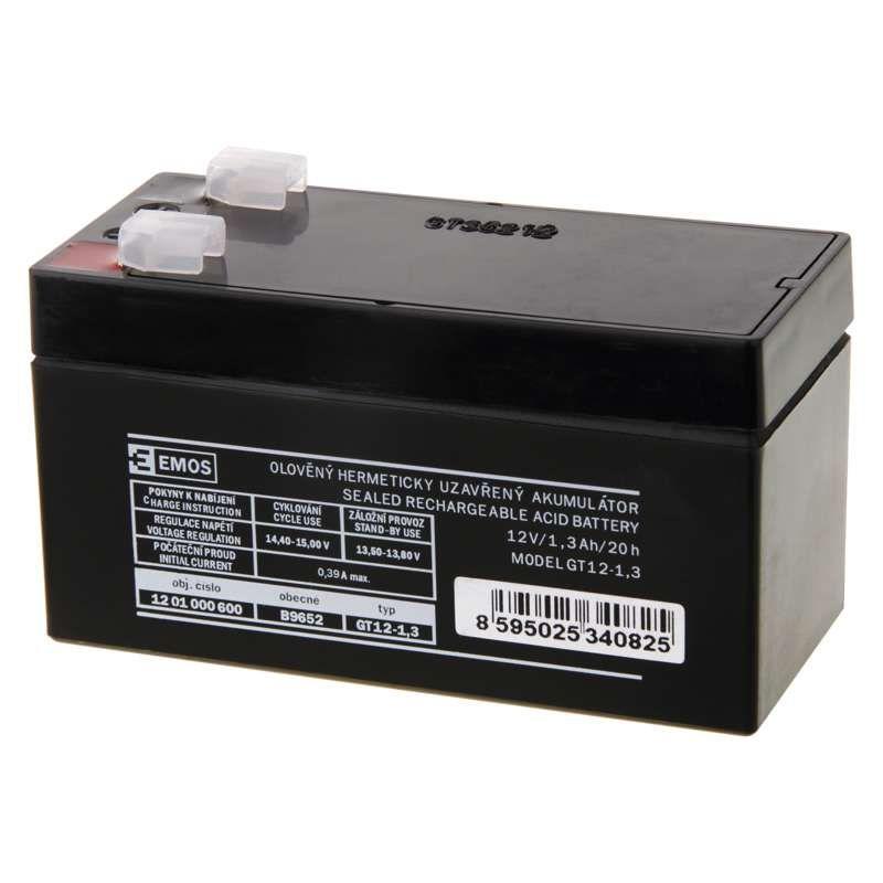 Olověný akumulátor 12 V/1,3 Ah, faston 4,7 mm EMOS