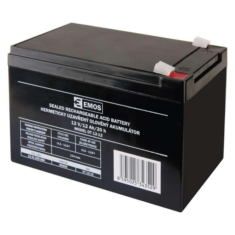 Olověný akumulátor 12 V/12 Ah, faston 6,3 mm EMOS