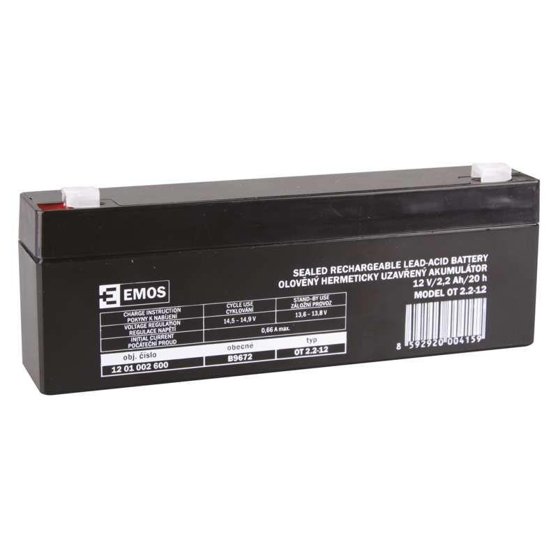 Olověný akumulátor 12 V/2,2 Ah, faston 4,7 mm EMOS