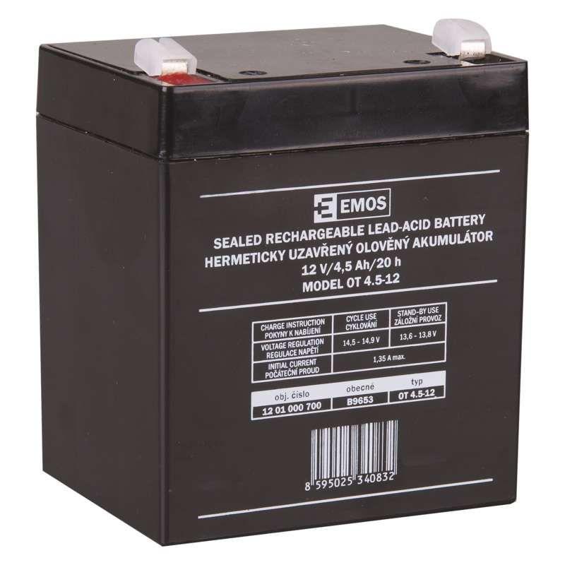 Olověný akumulátor 12 V/4,5 Ah, faston 4,7 mm EMOS