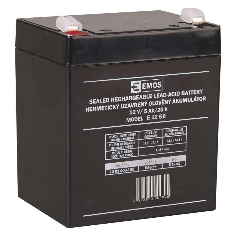 Olověný akumulátor 12 V/5Ah, faston 6,3 mm EMOS