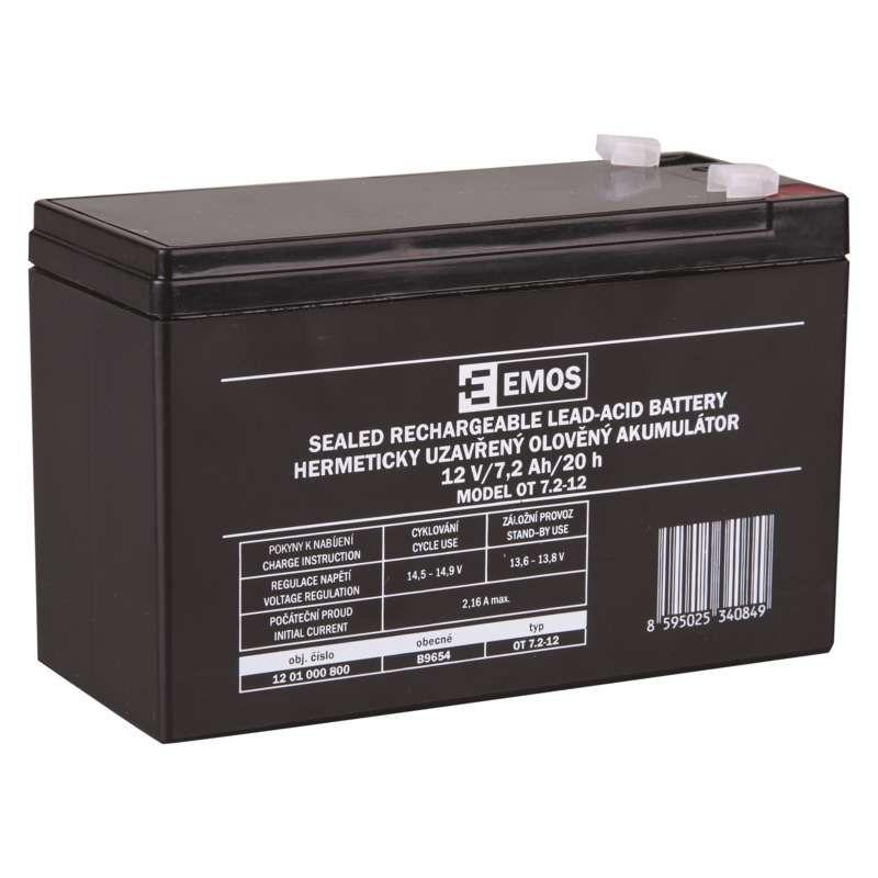 Olověný akumulátor 12 V/7,2 Ah, faston 4,7 mm EMOS