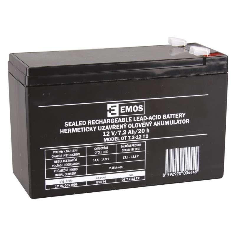 Olověný akumulátor 12 V/7,2 Ah, faston 6,3 mm EMOS