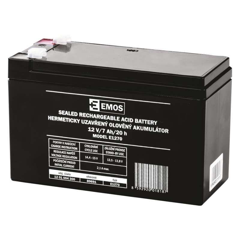 Olověný akumulátor 12 V/7 Ah, faston 4,7 mm EMOS