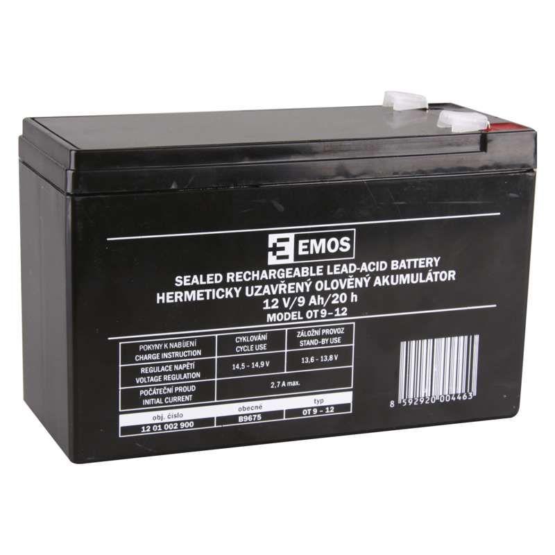 Olověný akumulátor 12 V/9 Ah, faston 6,3 mm EMOS