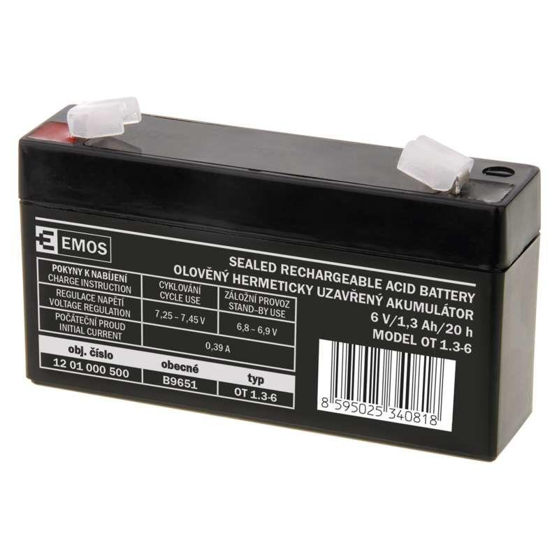 Olověný akumulátor EMOS 6V 1,3Ah, faston 4,7 mm