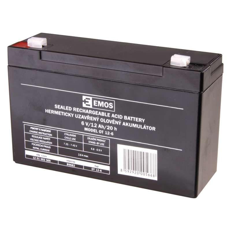 Olověný akumulátor EMOS 6V 12Ah, faston 4,7 mm