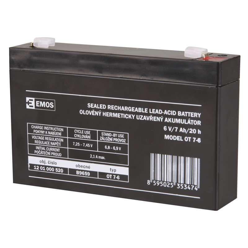Olověný akumulátor EMOS 6V 7Ah, faston 4,7 mm