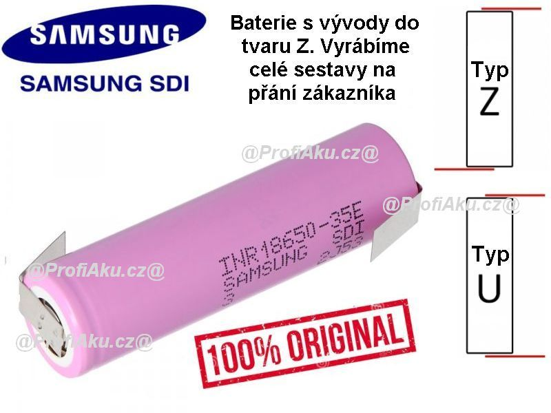 Baterie Samsung INR 18650 - 35E 3450mAh - 10A vývody Z