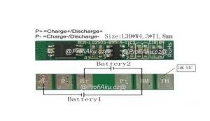 BMS pro Li-Ion Li-Pol baterie 2S 7,2V-7,4V 3A + NTC 10K