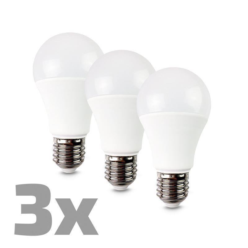 ECOLUX LED žárovka 3-pack, klasický tvar, 10W, E27, 3000K, 270°, 810lm, 3ks v balení Solight