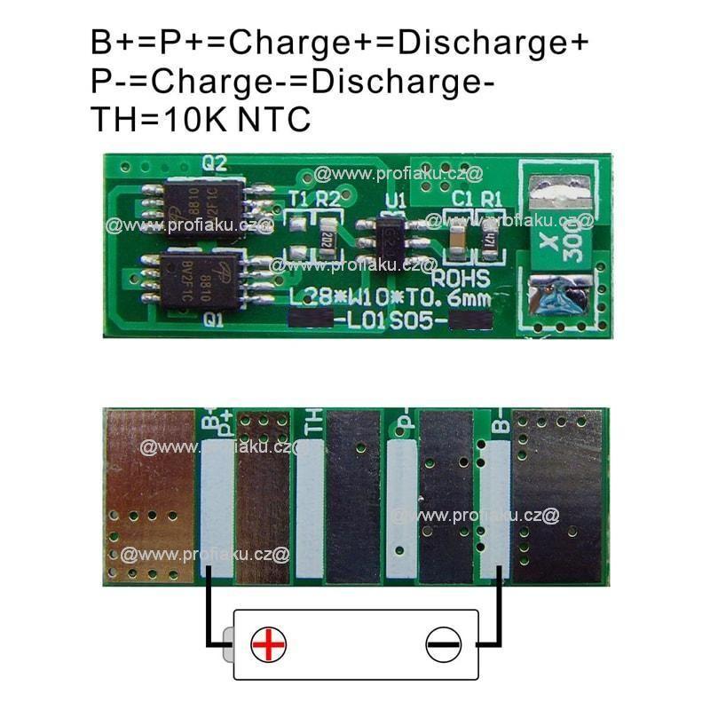 Ochranný obvod BMS Li-Ion 1S 3.6V - 3.7V 4A 28x10x1.7mm AEB