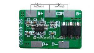 Ochranný obvod BMS Li-Ion 2S 7.2V - 7.4V 8A 30x18x1.9mm