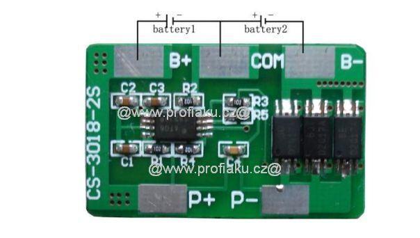 Ochranný obvod BMS Li-Ion 2S 7.2V - 7.4V 8A 30x18x1.9mm AEB
