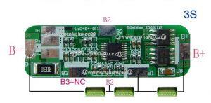 Ochranný obvod BMS Li-Ion 3S 10.8V - 11.1 V 4A 50 x 16 x 3mm
